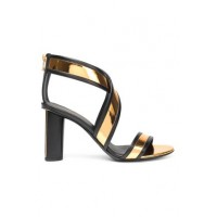 BALMAIN Smooth and mirrored-leather sandals Leather 4772211930028299 SBAUYWM