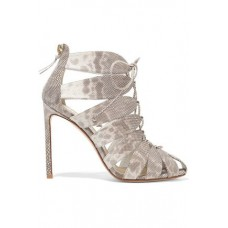 FRANCESCO RUSSO Lace-up karung sandals Mushroom and white karung 4772211931734017 CWGZKMW