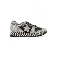 STELLA McCARTNEY Macy faux suede and woven faux leather sneakers Black and white faux suede and faux leather 4772211931734036 LBJOBNQ